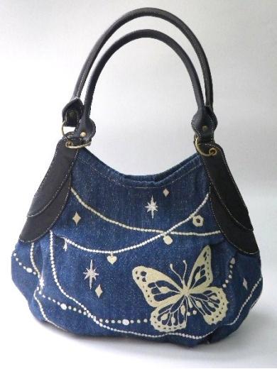 『蝶の首飾り刺繍』ギャザートートバッグ