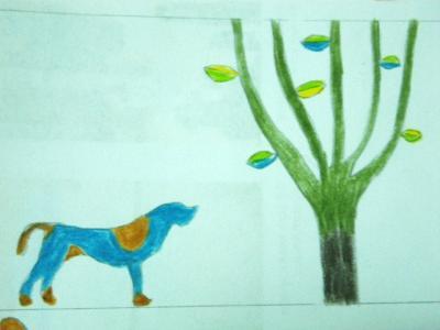 犬と木のイラスト