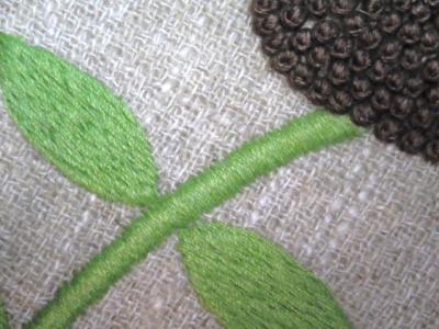 庭の花刺繍・フレンチノット
