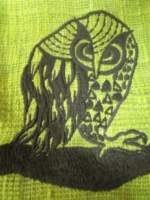 フクロウ刺繍