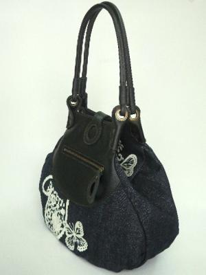『レース柄刺繍』しずく型トートバッグ