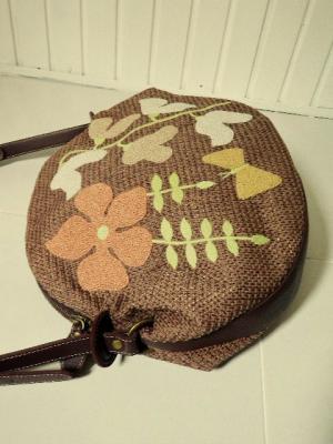 フレンチノットの花刺繍・ショルダーバッグ