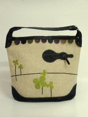 きりん刺繍、ショルダーバッグ