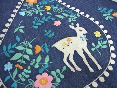 刺繍、バンビ