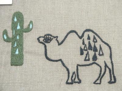 刺繍、ラクダ
