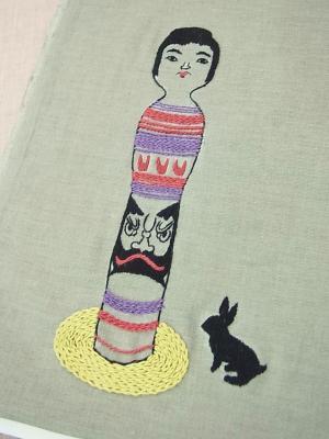 刺繍、こけし