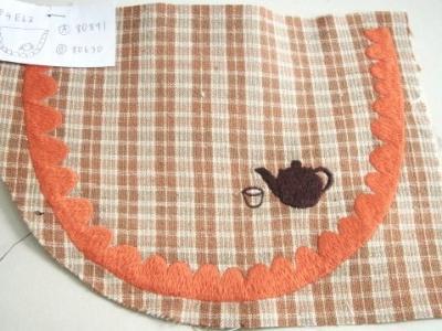 お茶の刺繍