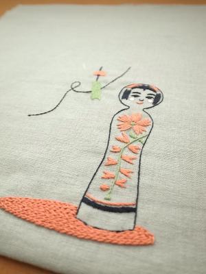 刺繍、こけしと風鈴