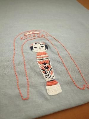 刺繍、かわいいこけし