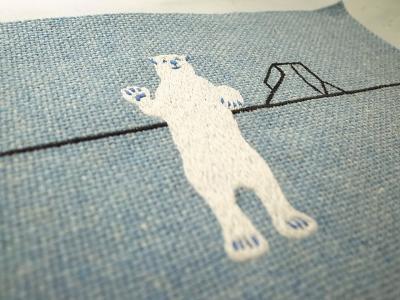 かってに白クマ刺繍