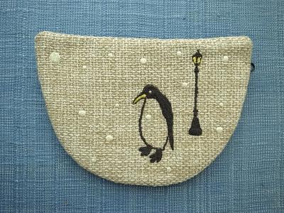 刺繍、ペンギン