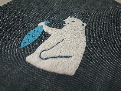 シロクマ刺繍