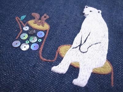 森のくまさんリスさん刺繍