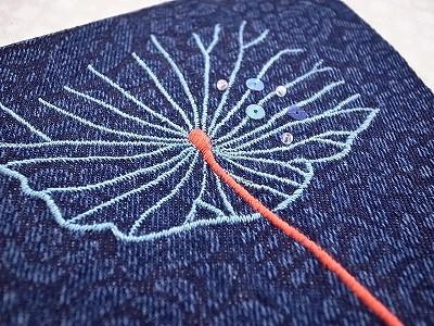 蓮の葉刺繍