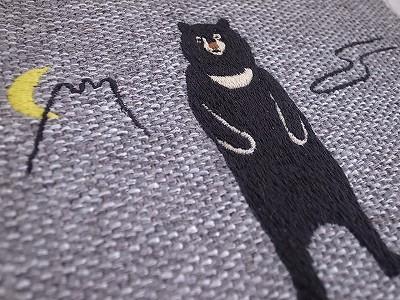 ツキノワグマ刺繍