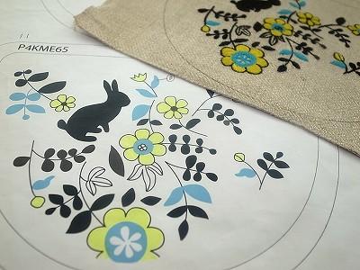 半月ポーチ・うさぎガーデン刺繍