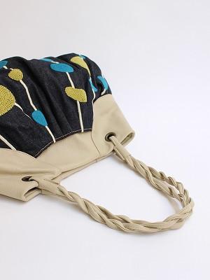 ダルメシアン刺繍・ギャザートートバッグ