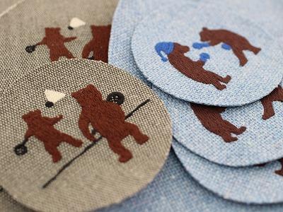 バトミントンくま刺繍&ボクシングくま刺繍。