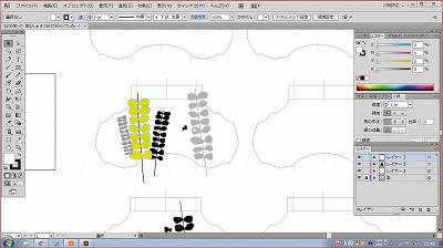 ギャザートートの刺繍デザイン。