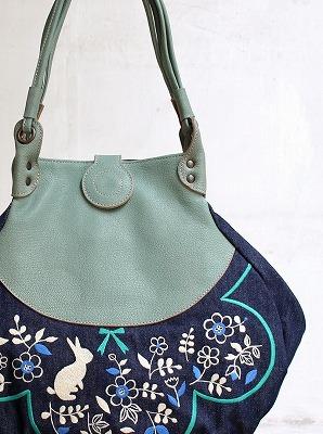 うさぎガーデン刺繍・しずくトートバッグ
