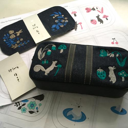 制作中の刺繍ショルダーポーチ