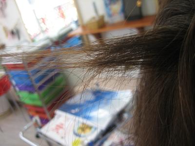 根元から髪の量を減らす