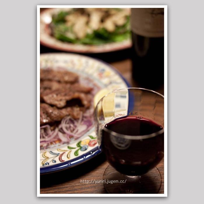 塩豚とエリンギとワイン