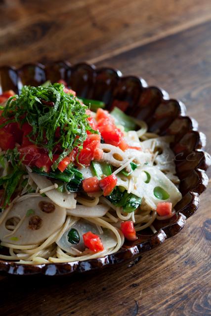 たっぷり野菜の和風ペペロンチーノ | ゆりり亭 *〜料理もお酒も無手勝流〜*