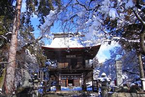 雪化粧した恵林寺