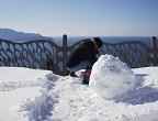 雪だるまの頭を作成中のきょうこちゃん