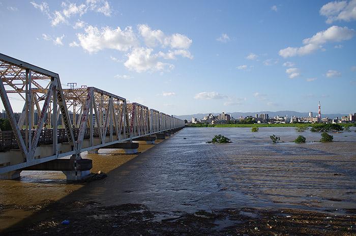 台風18号 淀川 赤川鉄橋