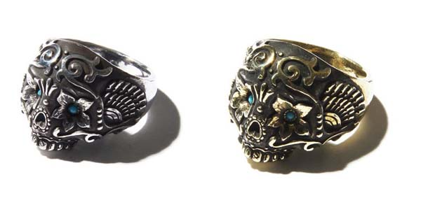 RUDE GALLERY / RING -HIPPY STONE SKULL<CHAOS DESIGN COLLABORATION> ルードギャラリー