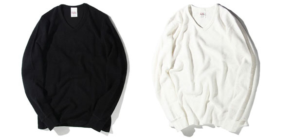 RUDE GALLERY BLACK REBEL / WAFFLE V NECK L/S ルードギャラリーブラックレベル