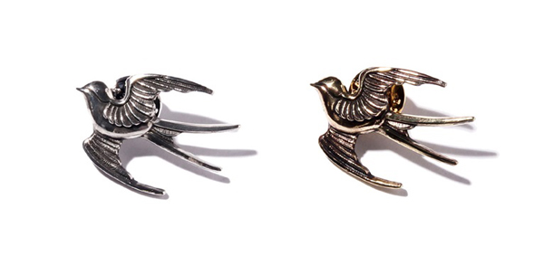 "RUDE GALLERY BLACK REBEL / SWALLOW PINS ""L"" MEDIUM <CHAOS DESIGN COLLABORATION> カオスデザイン"