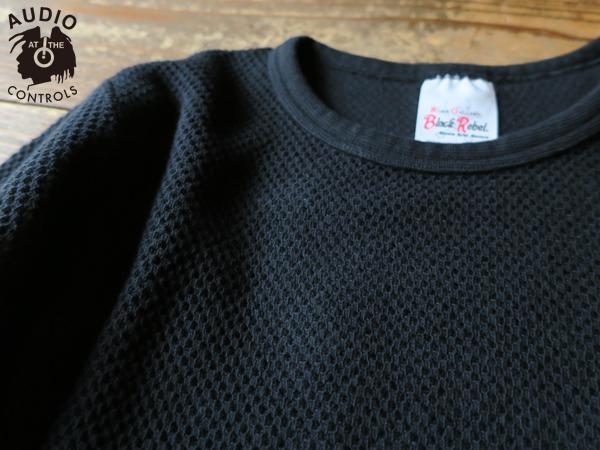 RUDE GALLERY BLACK REBEL / WAFFLE CREW NECK LS