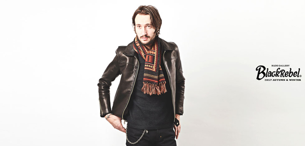RUDE GALLERY BLACK REBEL / PATTERN JACQUARD MUFFLER