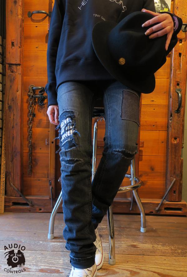 GAVIAL / BLACK STRETCH SLIM DENIM PANTS -REMAKE gavial 中村達也
