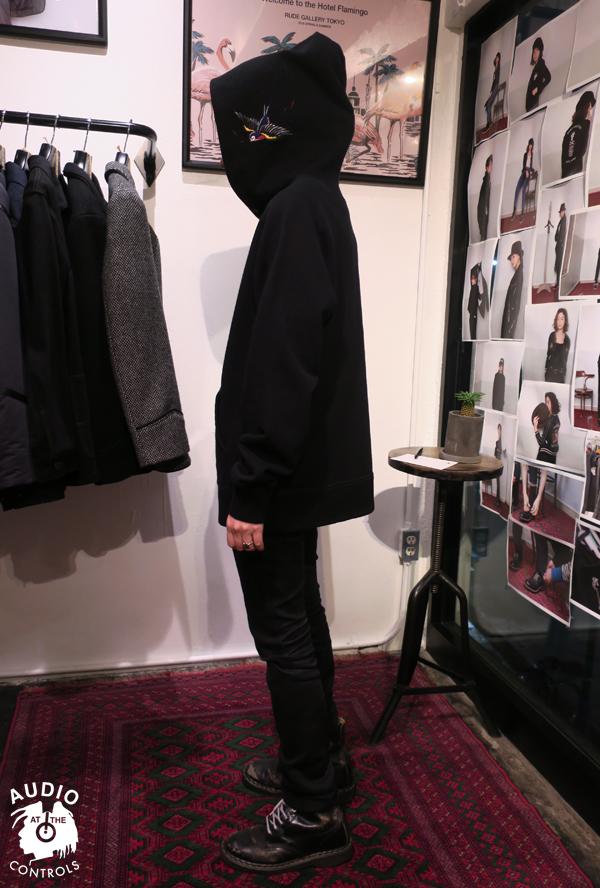 RUDE GALLERY BLACK REBEL / BIG SWALLOW HOODIE SWEAT <ART WORK by H.U.>