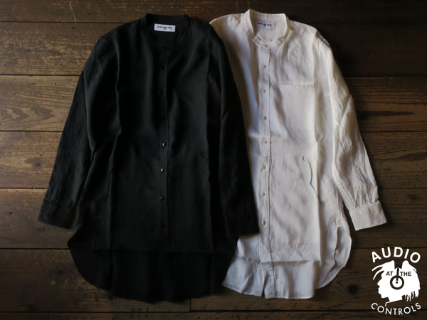 RUDE GALLERY / BAND COLLAR F HOLE LONG SHIRT - LINEN ルードギャラリー
