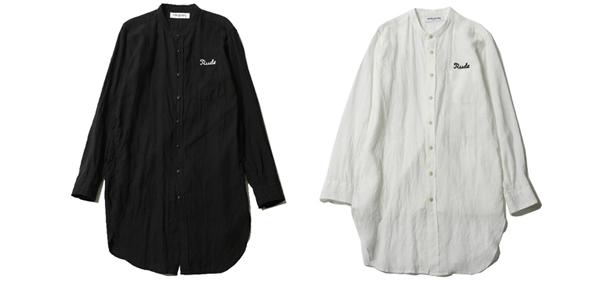 RUDE GALLERY / RUDE EMBROIDERED BAND COLLAR LONG SHIRT