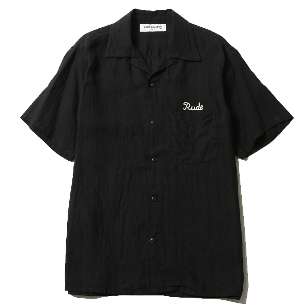 RUDE GALLERY / RUDE EMBROIDERED OPEN COLLAR SHIRT ルードギャラリー