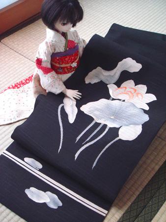 蓮の刺繍帯