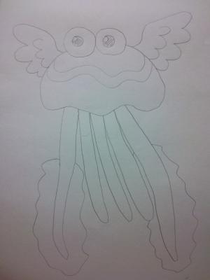 目と羽のあるファンシーな色のクラゲ。を一発描き。こんな感じのを想像してるんですが、違ったらごめんなさい!!