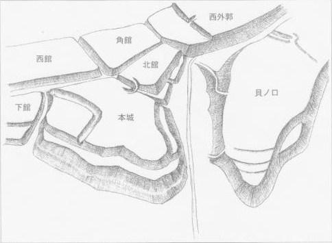 ?貝ノ口側の虎口イメージパス