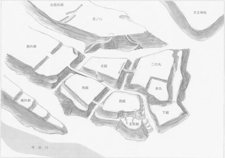 七戸城跡縄張りパース