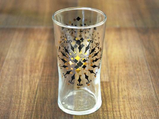 【昭和レトロ/東洋ガラス】幾何学模様のジュースグラス ゴールド/ブラック