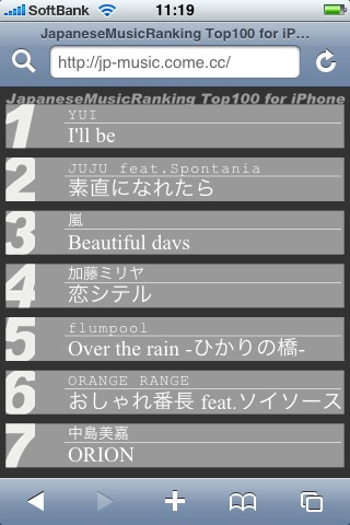 JapaneseMusicRanking Top100 for iPhone