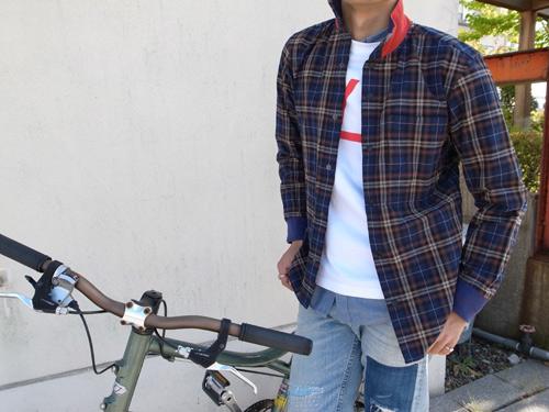 チャリアンドコー  サイクリングシャツ ブルーチェック.jpg