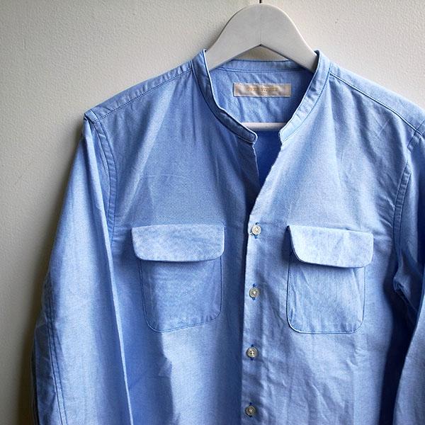 ワンズストローク ノーカラーシャツ ブルー.jpg