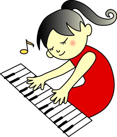 ピアノ赤い服娘